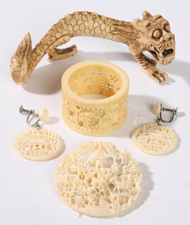 CHINESE CARVED IVORY JEWELRY PLUS