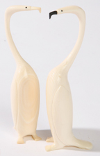 PR. CARVED JAPANESE IVORY CORMORANTS
