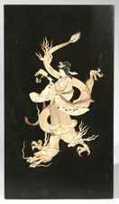 JAPANESE CARVED IVORY BONE & LACQUERED PANEL