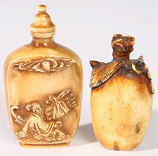 TWO CHINESE CARVED IVORY SNUFF BOTTLES