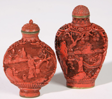 TWO CHINESE CINNABAR SNUFF BOTTLES