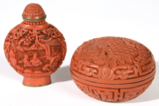 CHINESE CINNABAR SNUFF AND BOX