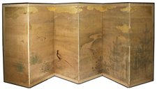 ANTIQUE JAPANESE PAINTED SIX PANEL SCREEN