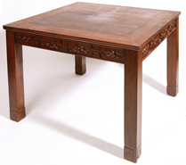 OUTSTANDING CHINESE CARVED TEAK TABLE