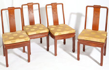 SET OF 4 CHINESE TEAK DINING CHAIRS