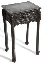 CHINESE CARVED TEAK STAND