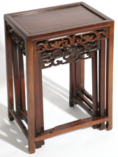 CHINESE CARVED TEAK NEST OF TABLES