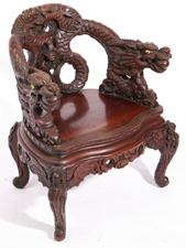 CHINESE QING DYNASTY TEAK DRAGON CHAIR