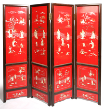 OUTSTANDING CHINESE IVORY M.O.P. & LACQUERED SCREEN