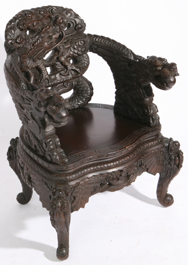 341, CHINESE CARVED TEAK DRAGON CHAIR - Forsythes' Auctions, LLC: Cincinnati Auctions