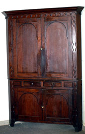 EARLY CHERRY CORNER CUPBOARD