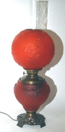Red Satin Gone With The Wind Lamp