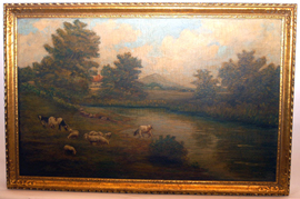 C. V. Martins Oil Painting With Cattle