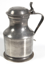 EARLY ENGLISH PEWTER LIDDED TANKARD