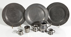 EIGHT PIECE LOT OF EARLY PEWTER