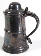 EARLY SILVER STEIN WITH HEART HANDLE