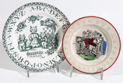 TWO EARLY CHILDS STAFFORDSHIRE ABC PLATES