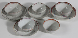 EARLY CHINESE EXPORT CUPS & SAUCERS