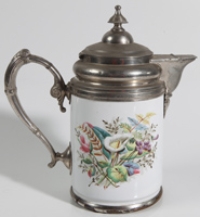 EARLY ENAMEL WARE AND PEWTER COFFEE POT