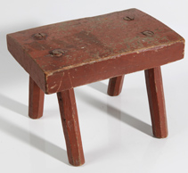 EARLY STOOL WITH OLD RED PAINT