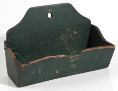 SMALL EARLY WALL BOX WITH OLD GREEN PAINT