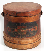 EARLY SHEARMAN'S JAM WOODEN BUCKET