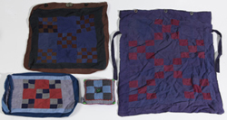 THREE EARLY AMISH BAGS AND PIN CUSHION