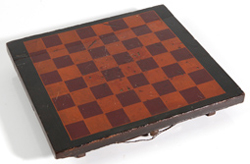UNUSUAL EARLY PAINTED GAME BOARD W/DRAWER