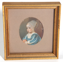 19TH CENTURY MINIATURE PAINTING OF CHILD W/BALL