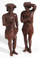 TWO 19TH CENTURY CARVED FIGURES OF MEN