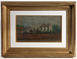 19TH CENTURY FOLK ART PAINTING OF FARM