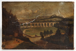 MID-19TH CENTURY OIL PAINTING OF TRAIN TRESTLE OVER RIVER