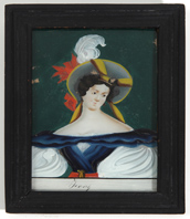 19TH CENTURY REVERSE PAINTING ON GLASS OF JENNY