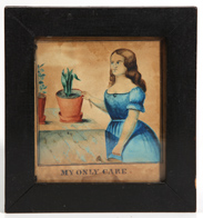 19TH CENTURY HAND COLORED FOLK ART PRINT