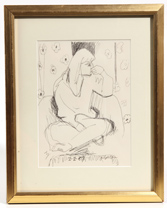 20TH CENTURY ILLEGIBLY SIGNED INK DRAWING