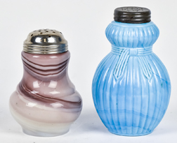 Two Art Glass Sugar Shakers