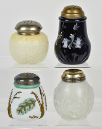 Four Victorian Glass Sugar Shakers