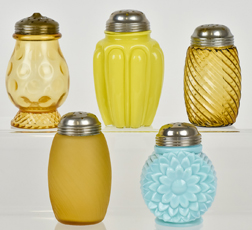 Five Art Glass Sugar Shakers
