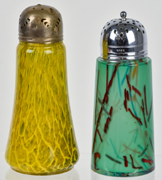 Two Czechoslovakian Art Glass Sugar Shakers
