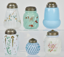 Six Victorian Glass Sugar Shakers