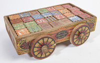 AMERICAN MFG WOODEN WAGON OF BLOCKS