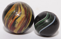 TWO INDIAN SWIRL MARBLES