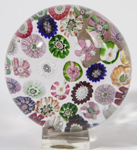 ATTRIBUTED BACCARAT SCATTERED MILLEFIORI PAPERWEIGHT