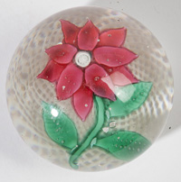 NEW ENGLAND GLASS CO. POINSETTA PAPERWEIGHT