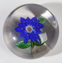 ATTRIBUTED BACCARAT BLUE CLEMATIS PAPERWEIGHT