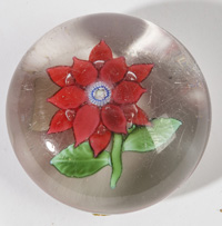 ATTRIBUTED BACCARAT  CLEMATIS PAPERWEIGHT