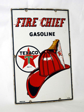 Porcelain Fire Chief Gasoline Sign