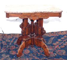 Walnut Marble Top Parlor Table