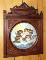Porcelain Plaque in Carved Cherry Frame