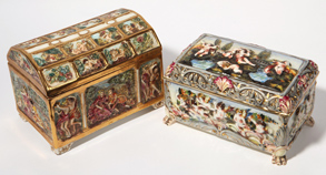 Two Capo Di Monte Jewelery Caskets